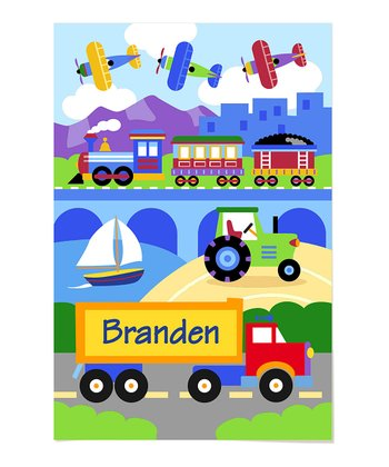 Trains, Planes & Trucks Personalized Art Print