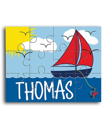 Blue Sailboat Personalized Jigsaw Puzzle