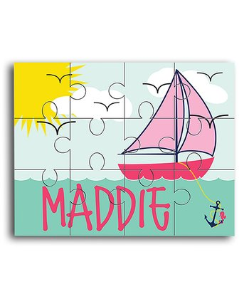 Pink Sailboat Personalized Jigsaw Puzzle