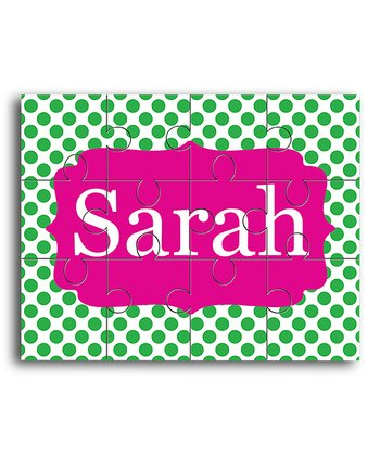 Green & Pink Personalized Jigsaw Puzzle