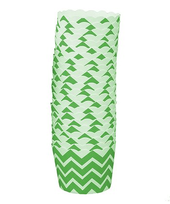 Green Zigzag Cups - Set of 24