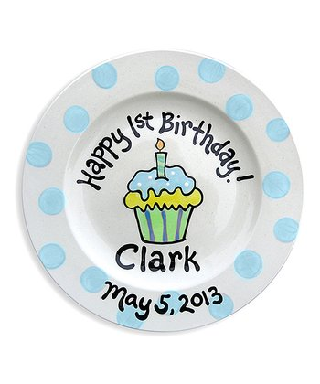 Blue Cupcake Personalized Plate