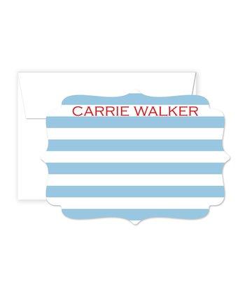 Red & Blue Stripe Personalized Card & Envelope Set