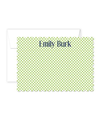 Lime & Navy Polka Dot Personalized Card & Envelope Set