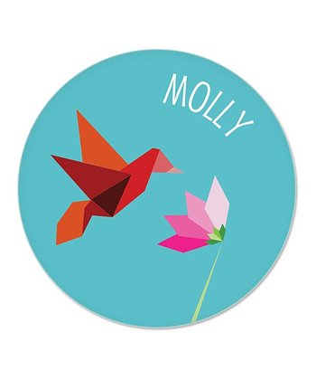 Teal Hummingbird Personalized Plate
