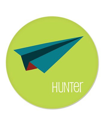 Green & Blue Paper Airplane Personalized Plate