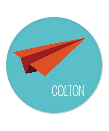 Teal Paper Airplane Personalized Plate