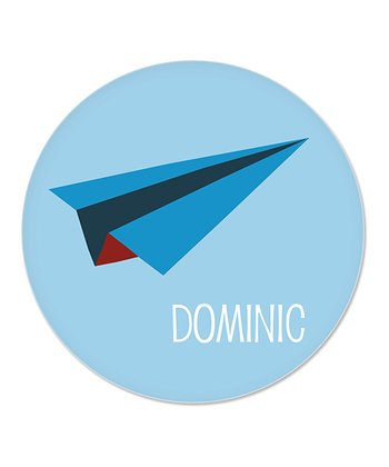 Blue Paper Airplane Personalized Plate
