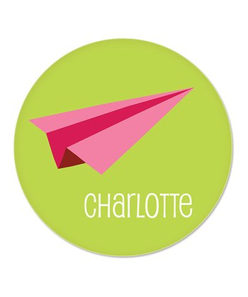 Green & Pink Paper Airplane Personalized Plate