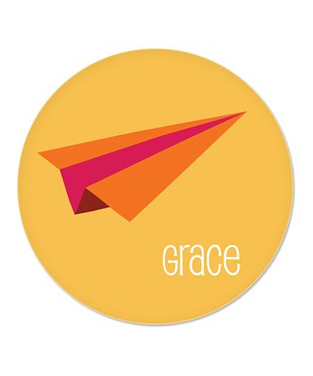 Orange Paper Airplane Personalized Plate