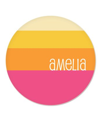 Pink & Yellow Stripes Personalized Plate
