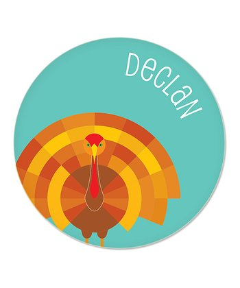 Teal Turkey Personalized Plate