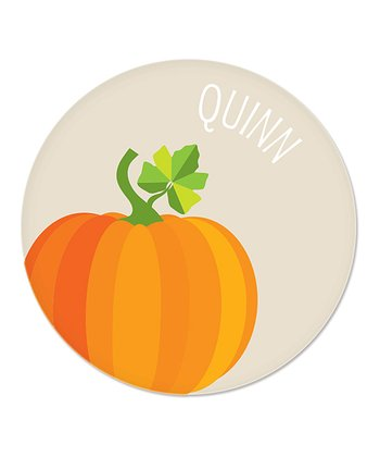 Cream Pumpkin Personalized Plate