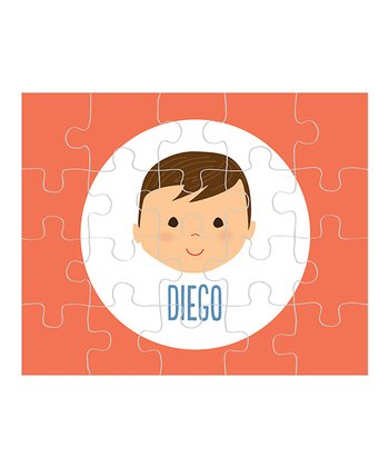 Dark Brown-Haired Boy Personalized Puzzle