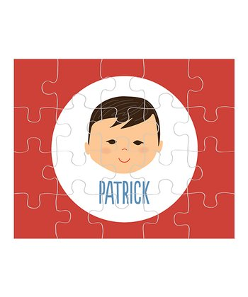 Raven-Haired Boy Personalized Puzzle