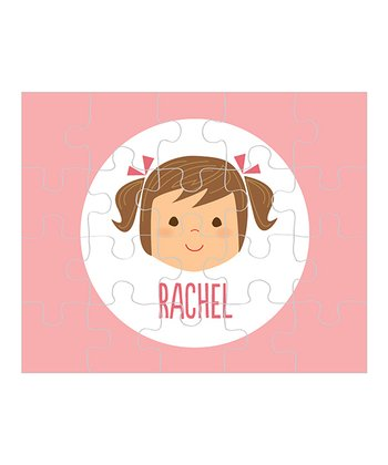 Brown-Haired Pigtails Girl Personalized Puzzle
