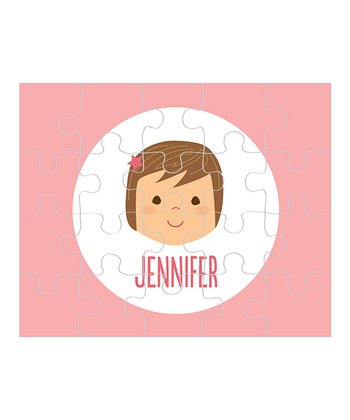 Brown-Haired Girl Personalized Puzzle