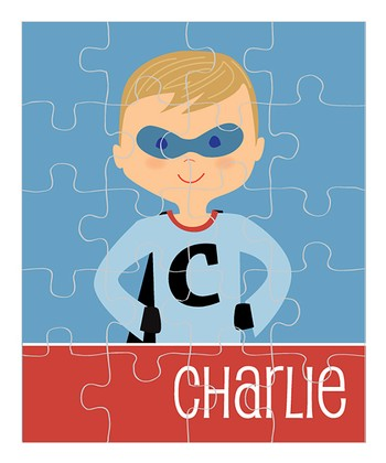Dark Yellow-Haired Superhero Personalized Puzzle