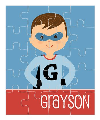 Dark Brown-Haired Superhero Personalized Puzzle