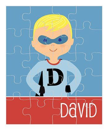 Yellow-Haired Superhero Personalized Puzzle