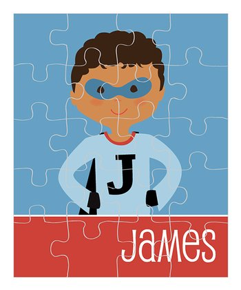 Curly Black-Haired Superhero Personalized Puzzle