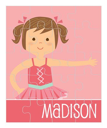 Brown-Haired Pigtails Ballerina Personalized Puzzle