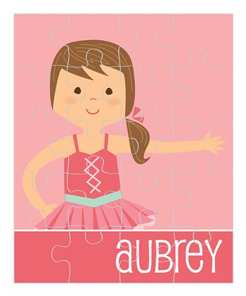 Brown-Haired Ponytail Ballerina Personalized Puzzle