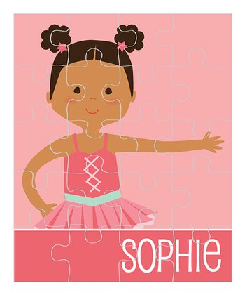 Black-Haired Poof Pigtail Ballerina Personalized Puzzle