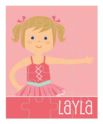 Dark Yellow-Haired Pigtails Ballerina Personalized Puzzle