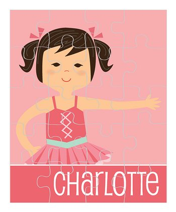 Black-Haired Pigtails Ballerina Personalized Puzzle
