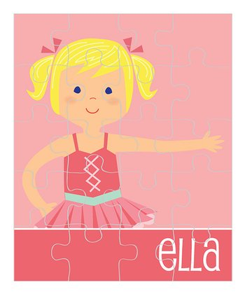 Light Yellow-Haired Pigtails Ballerina Personalized Puzzle