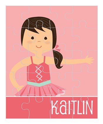 Black-Haired Ponytail Ballerina Personalized Puzzle