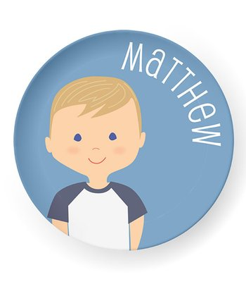 Dark Yellow-Haired Boy Personalized Plate