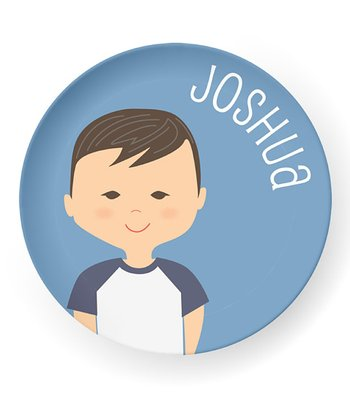 Raven-Haired Boy Personalized Plate