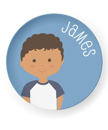 Curly Black-Haired Boy Personalized Plate