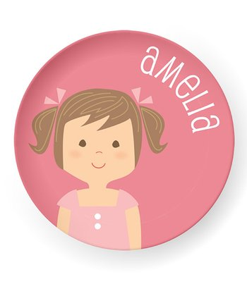Brown-Haired Pigtails Girl Personalized Plate