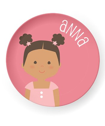 Black-Haired Poof Pigtail Girl Personalized Plate