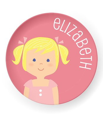 Light Yellow-Haired Pigtails Girl Personalized Plate