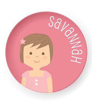 Brown-Haired Girl Personalized Plate