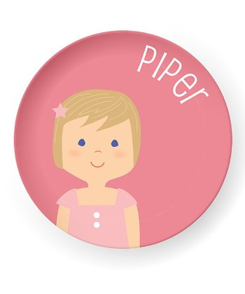 Dark Yellow-Haired Girl Personalized Plate