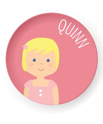 Light Yellow-Haired Girl Personalized Plate