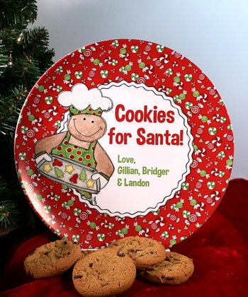 Gingerbread 'Cookies for Santa' Personalized Plate