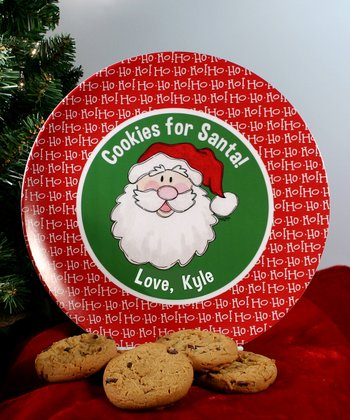 Red & Green 'Cookies for Santa' Personalized Plate