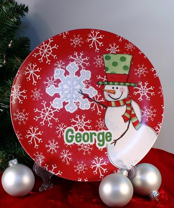 Red Snowflake Personalized Plate