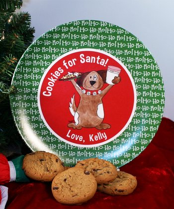 Happy Dog 'Cookies for Santa' Personalized Plate