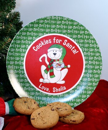 Happy Cat 'Cookies for Santa' Personalized Plate
