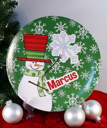 Green Snowflake Personalized Plate