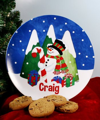 Decorating Snowman Personalized Plate