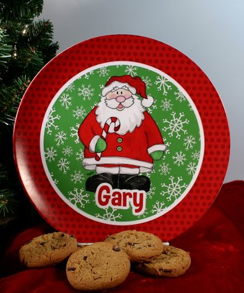 Candy Cane Santa Personalized Plate
