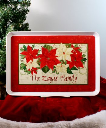 Christmas Poinsettias Personalized Tray